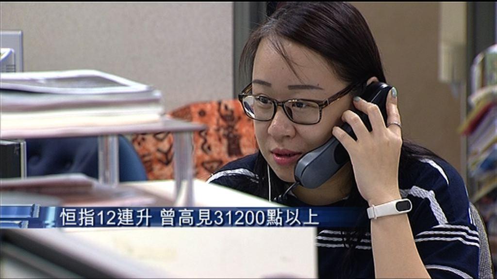 【港股強勢】九藍籌最少升上一年高