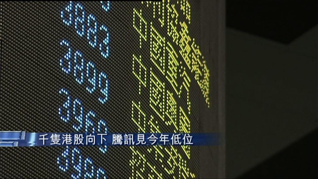 【逾千股挫】騰訊曾見一年低 尾市跌少截
