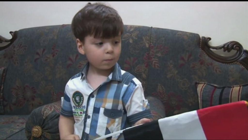 敘利亞男童獲救後首次露面