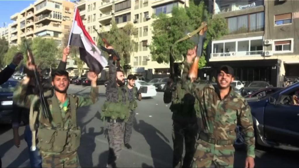 大馬士革民眾示威抗議西方空襲