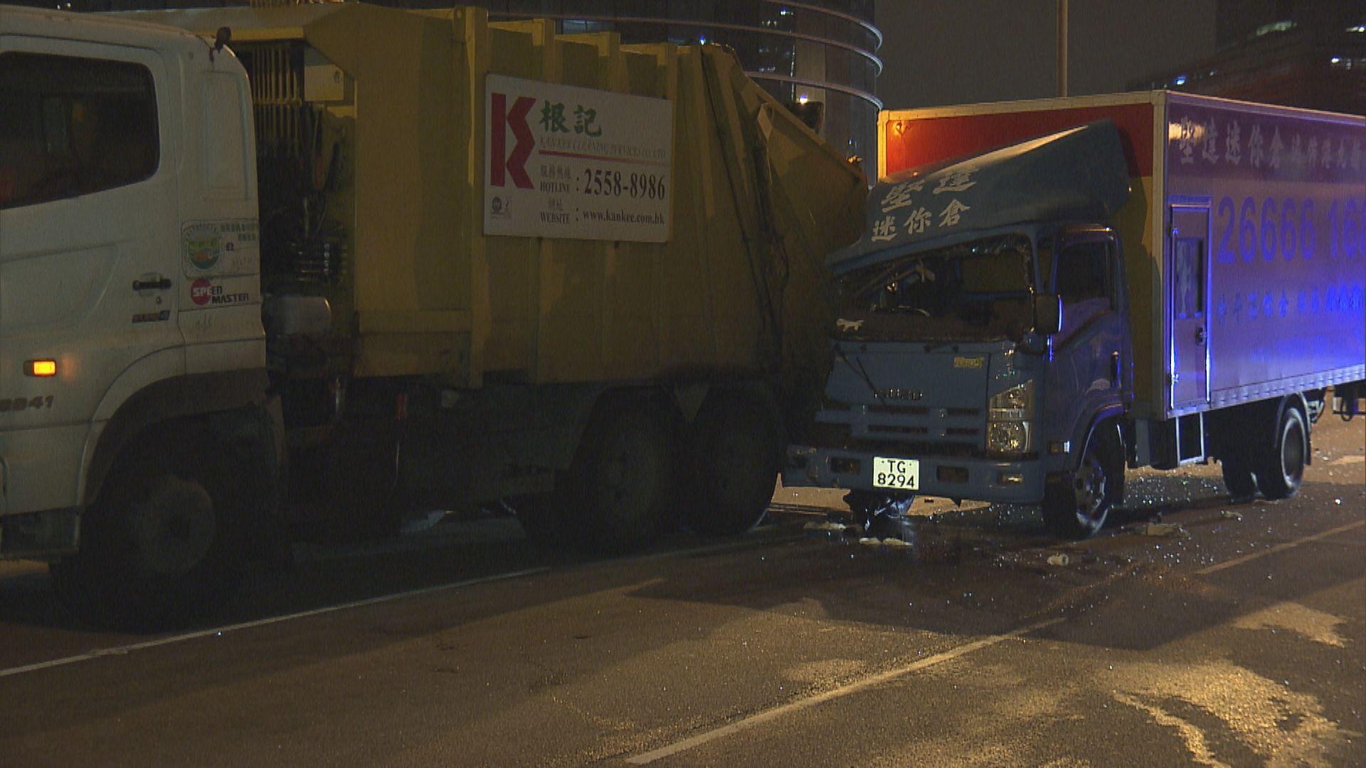 觀塘貨車與垃圾車相撞兩人傷