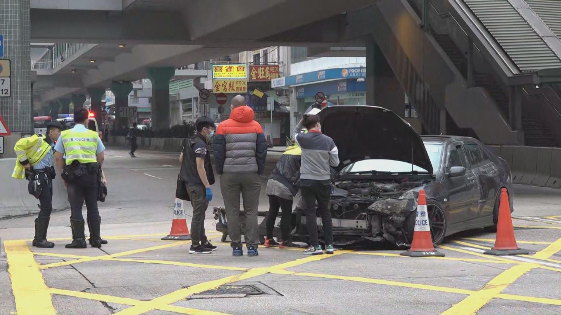 旺角一輛失車與兩車相撞 司機逃逸