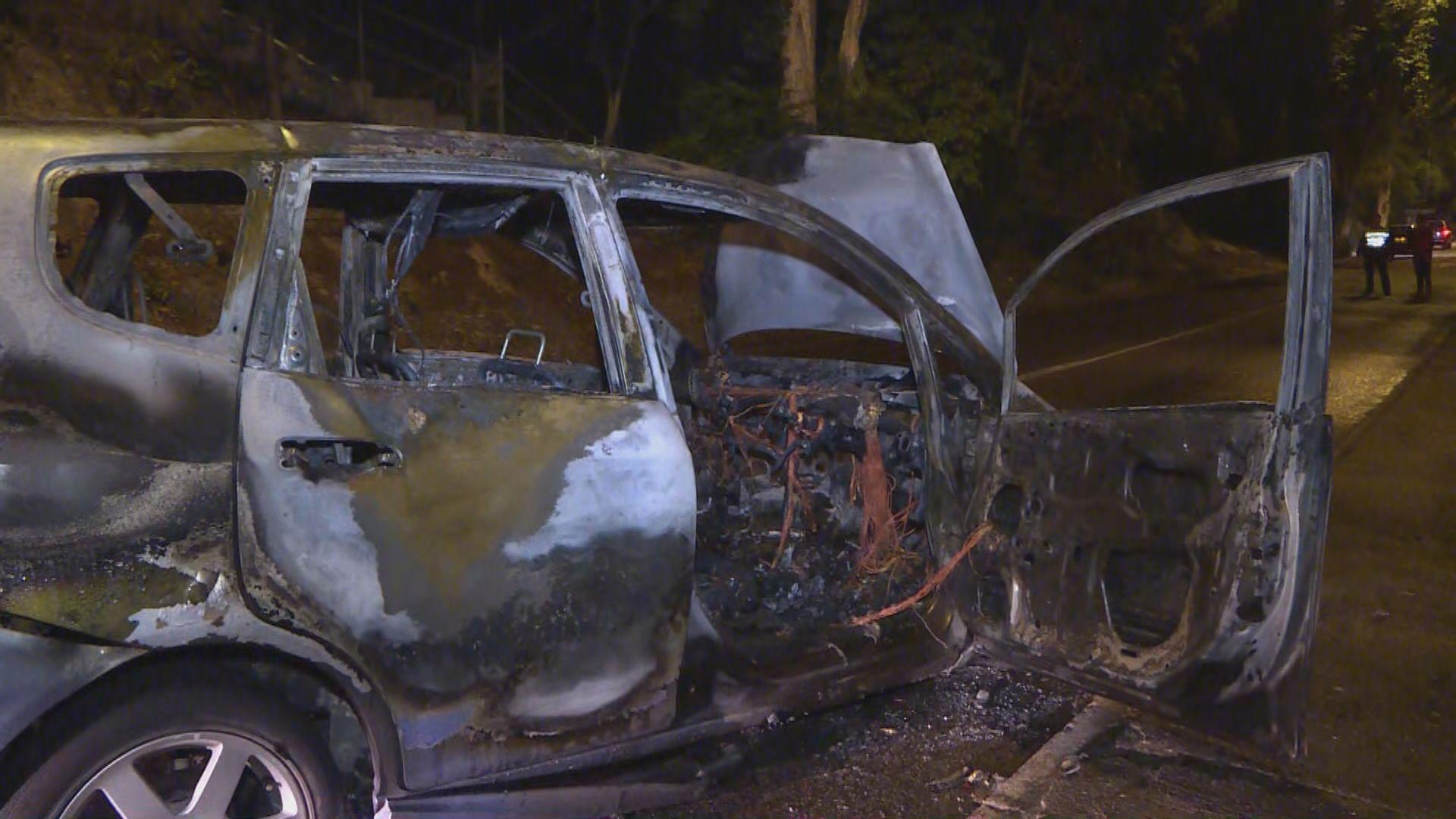 私家車失控撞樹後焚毀 司機及乘客受傷