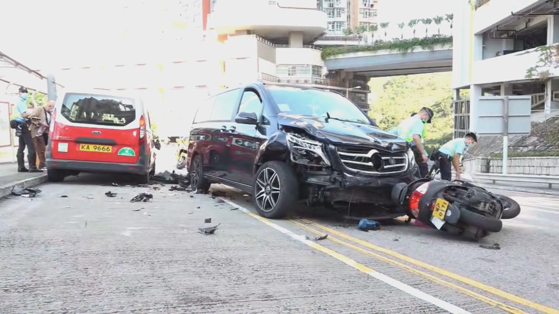 沙田三車相撞 電單車司機昏迷送院