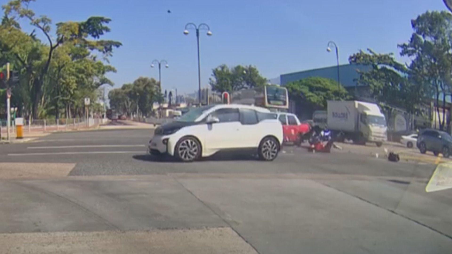 沙田私家車疑衝燈撞倒電單車司機死亡