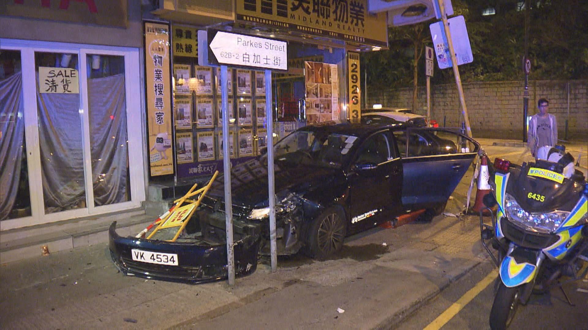 油麻地私家車失事剷行人路釀兩傷