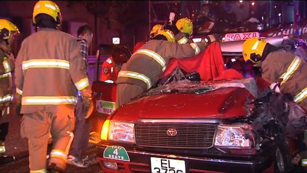 沙田車禍的士女乘客頭部重傷