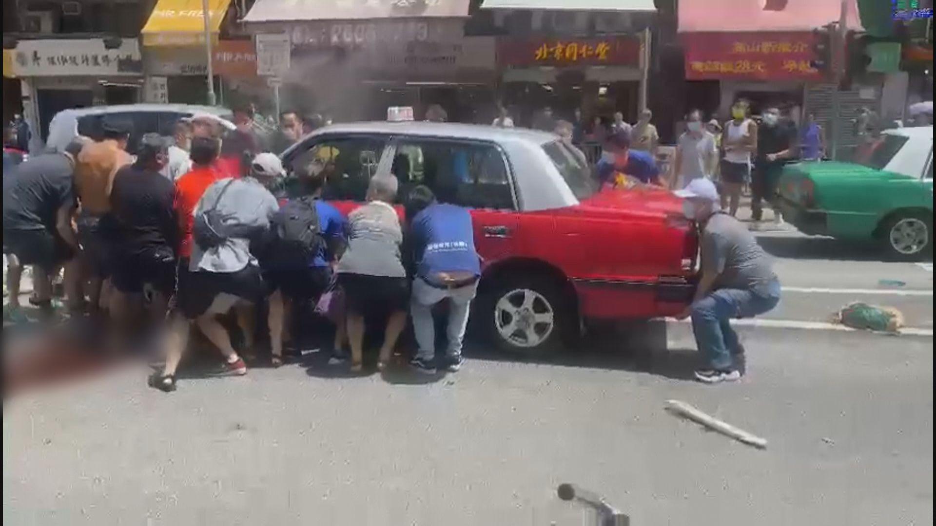 大埔的士撞途人釀最少一死八傷 的士司機被捕