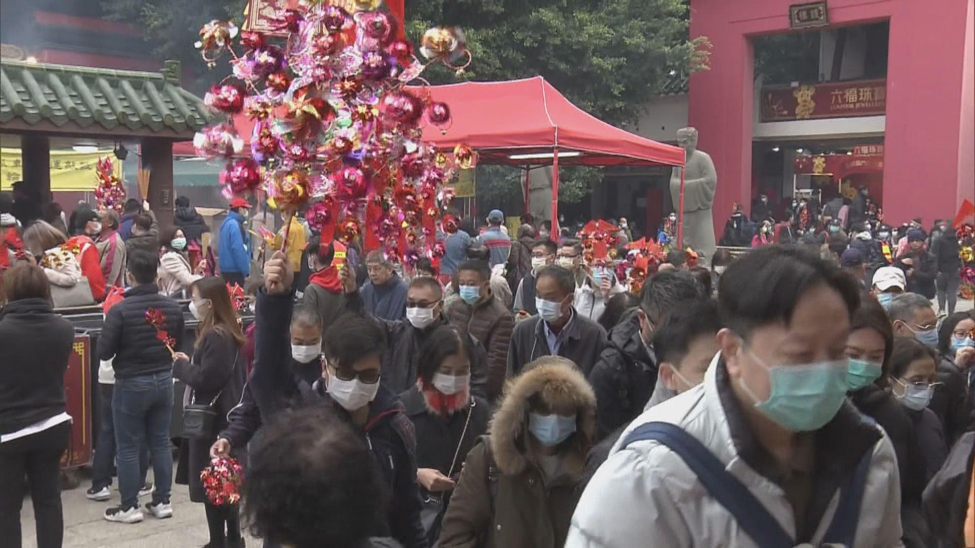 車公廟善信戴上口罩 祈求疫情受控