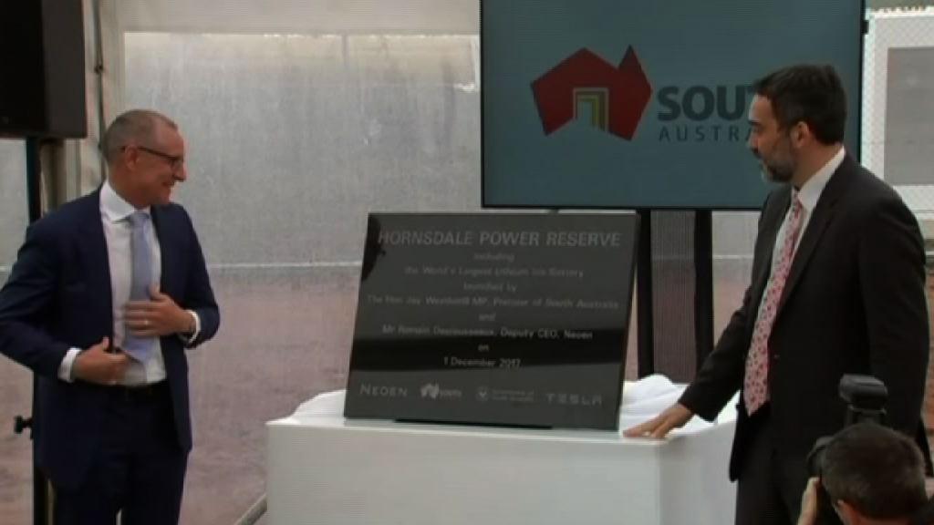 Tesla全球最大鋰電池系統南澳洲啟用