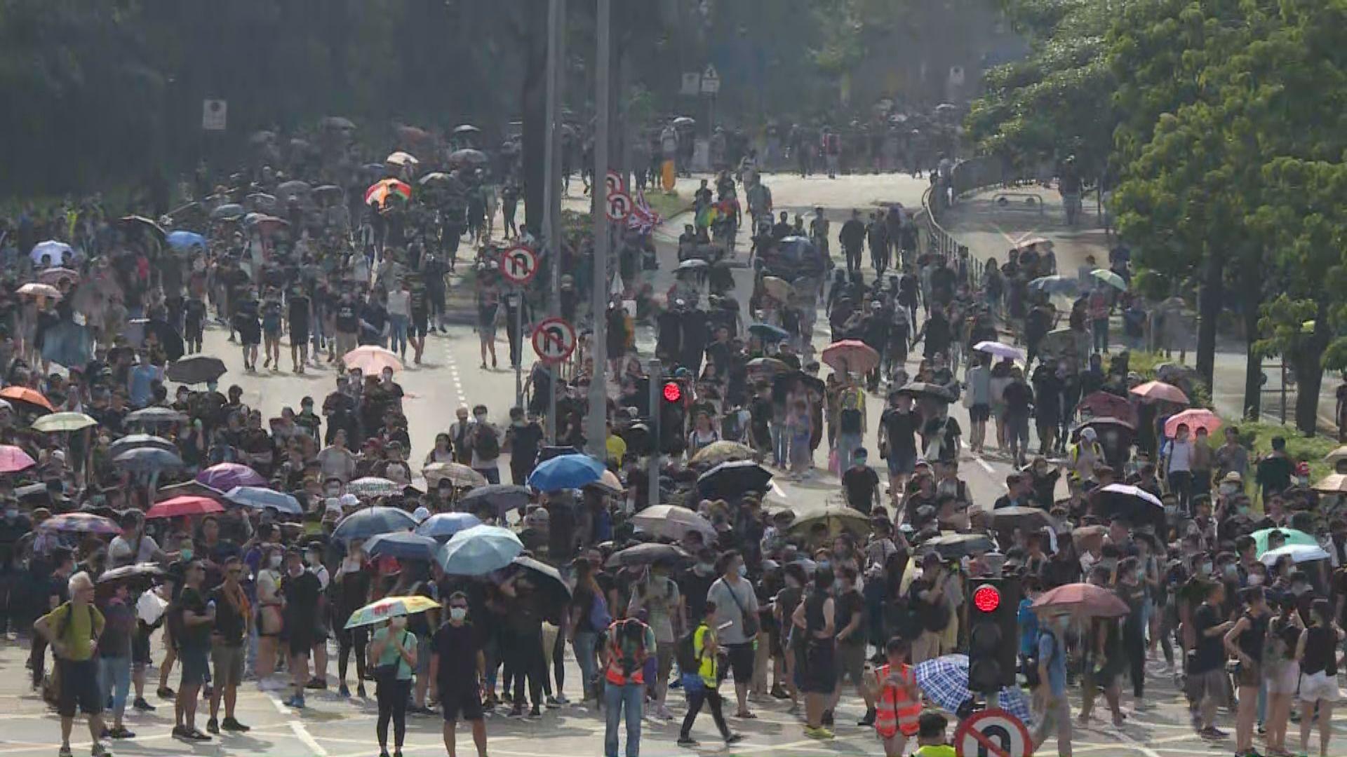 數百人大埔區內遊行 大批警員於太和路戒備
