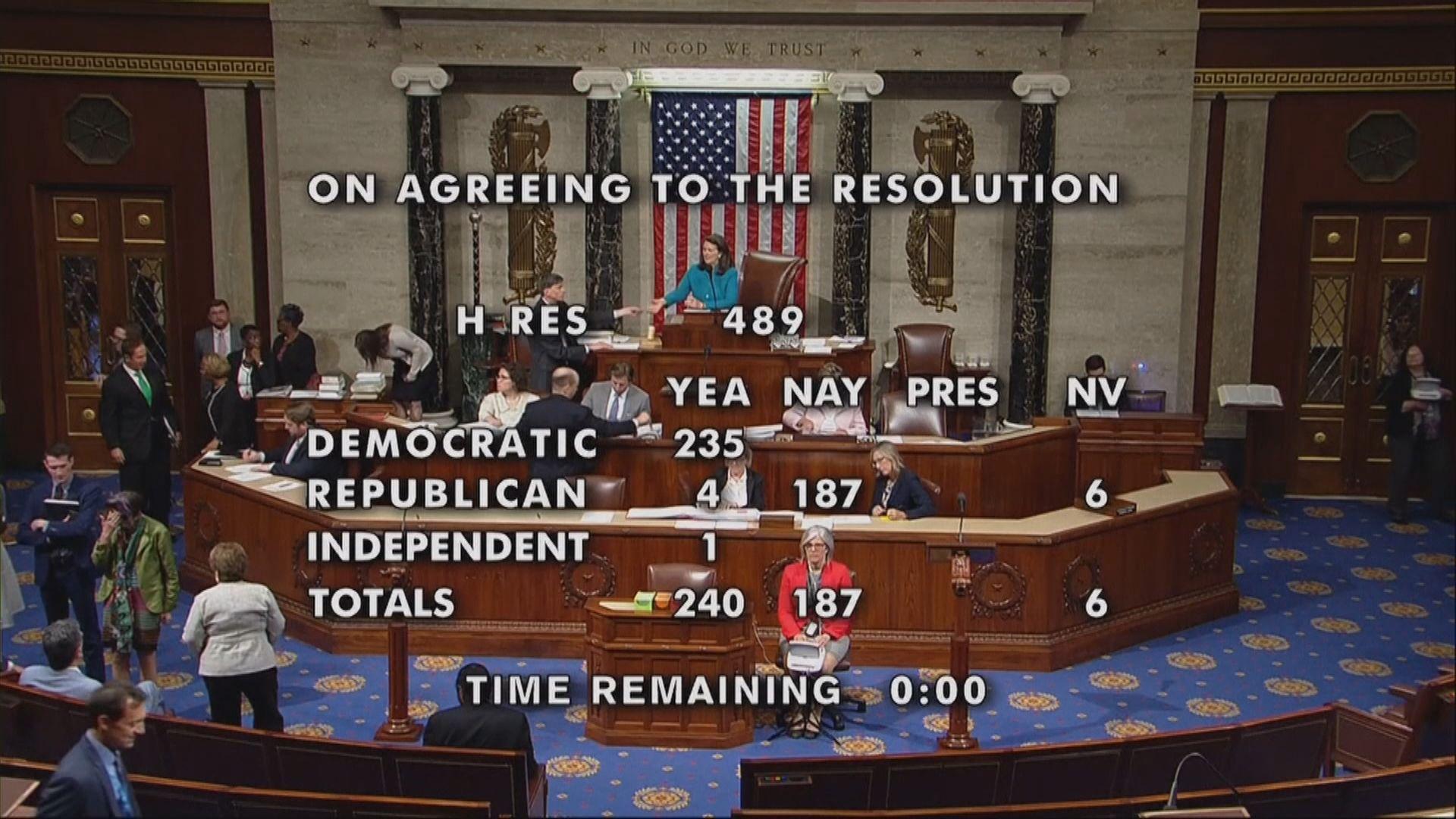 美國眾議院通過譴責特朗普排外言論