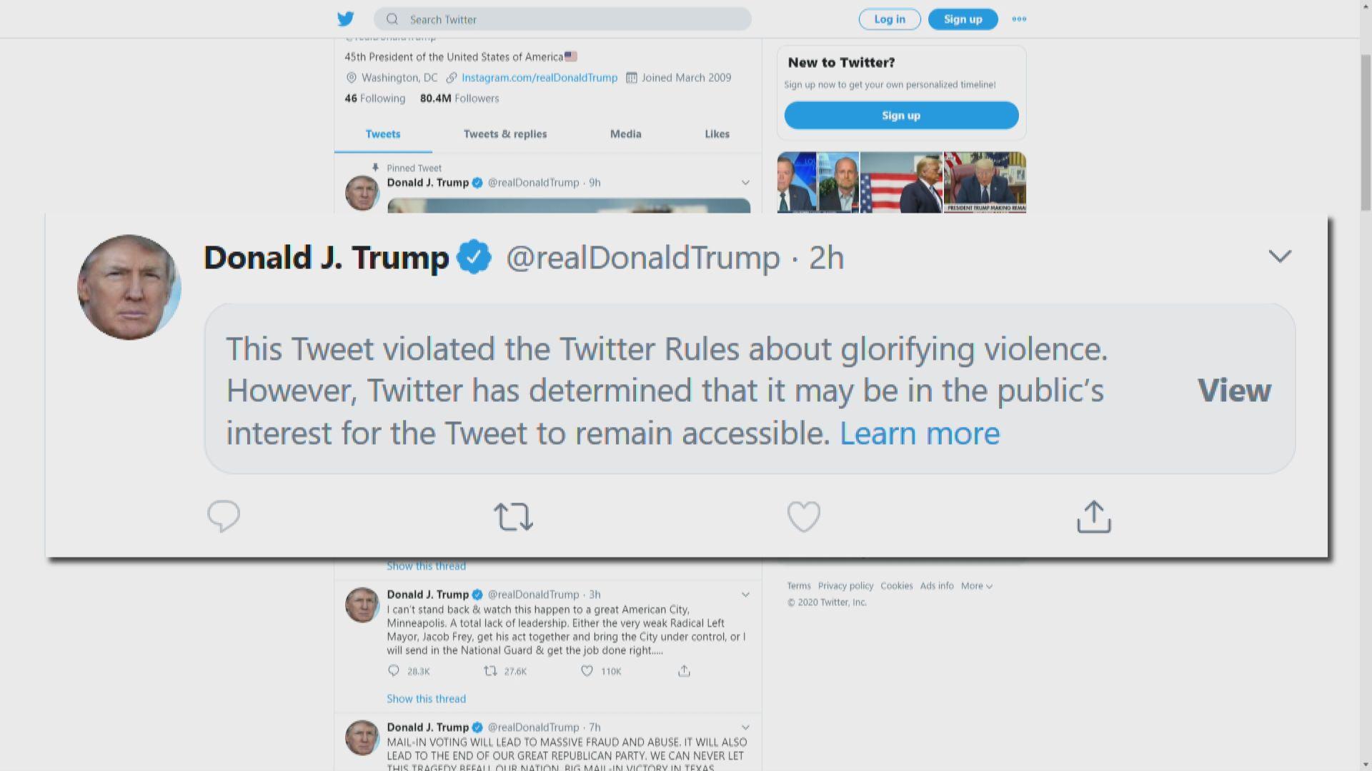 Twitter屏蔽特朗普支持明尼蘇達州開槍平亂帖文