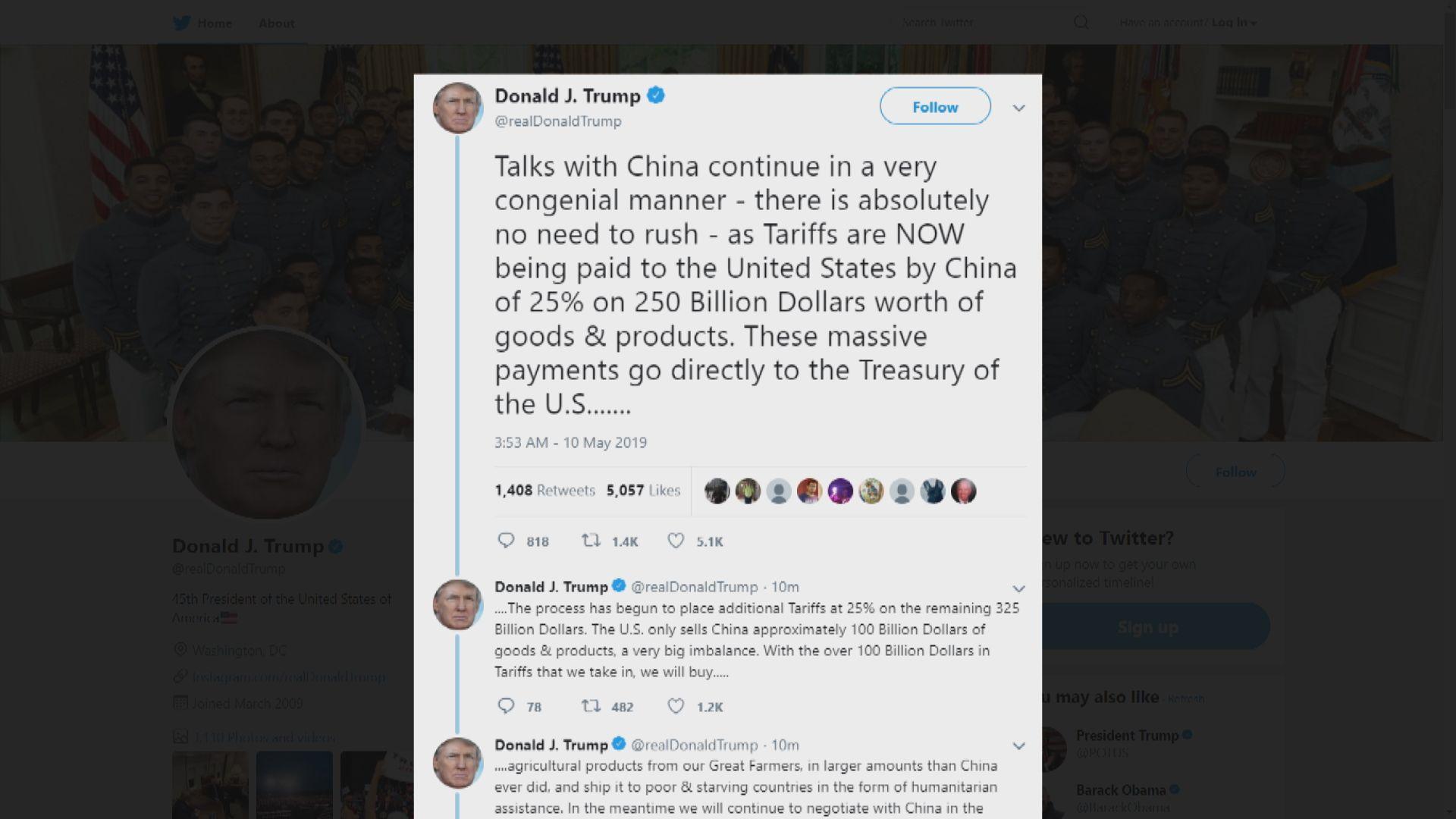 特朗普:若中國不反口 兩國會繼續談判
