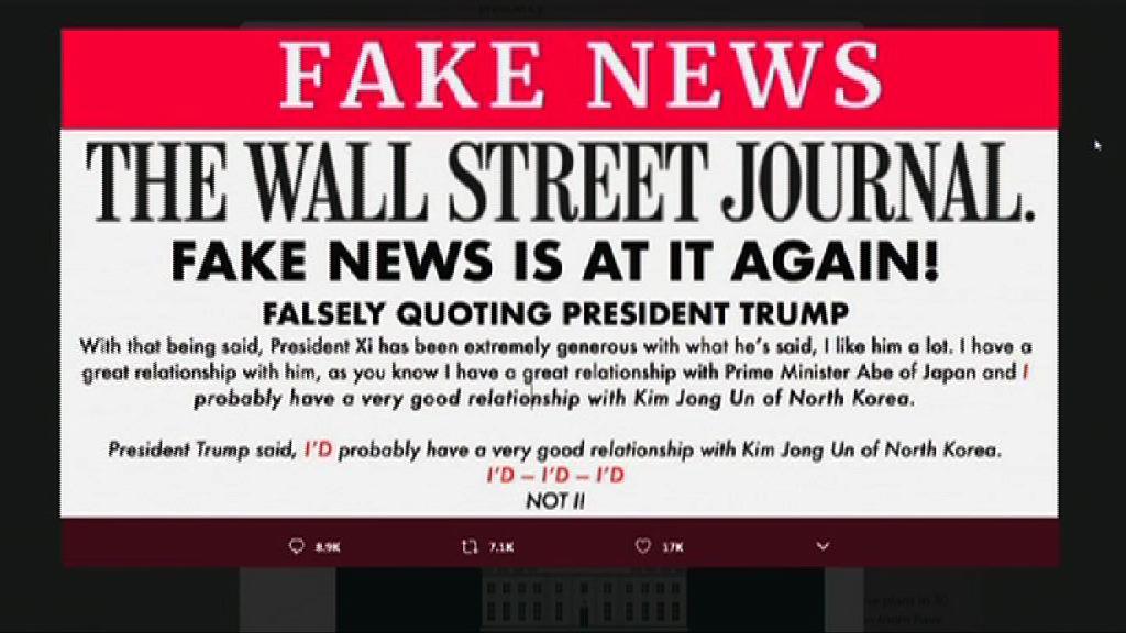 特朗普否認與金正恩關係良好 斥《華爾街日報》發布假新聞