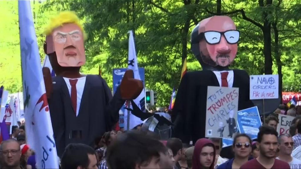 比利時有反特朗普示威
