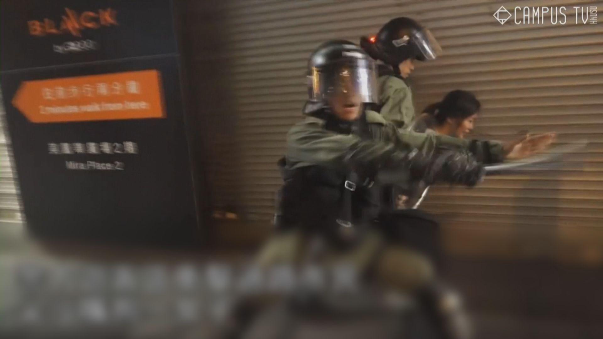 警方尖沙咀拘一女子 以催淚彈驅散要求放人示威者
