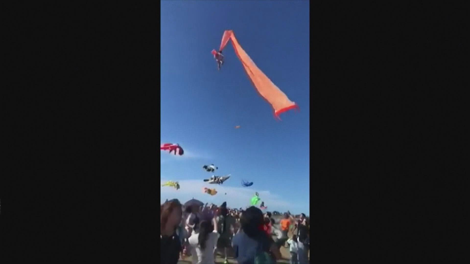 台灣女童一度被風箏捲上半空
