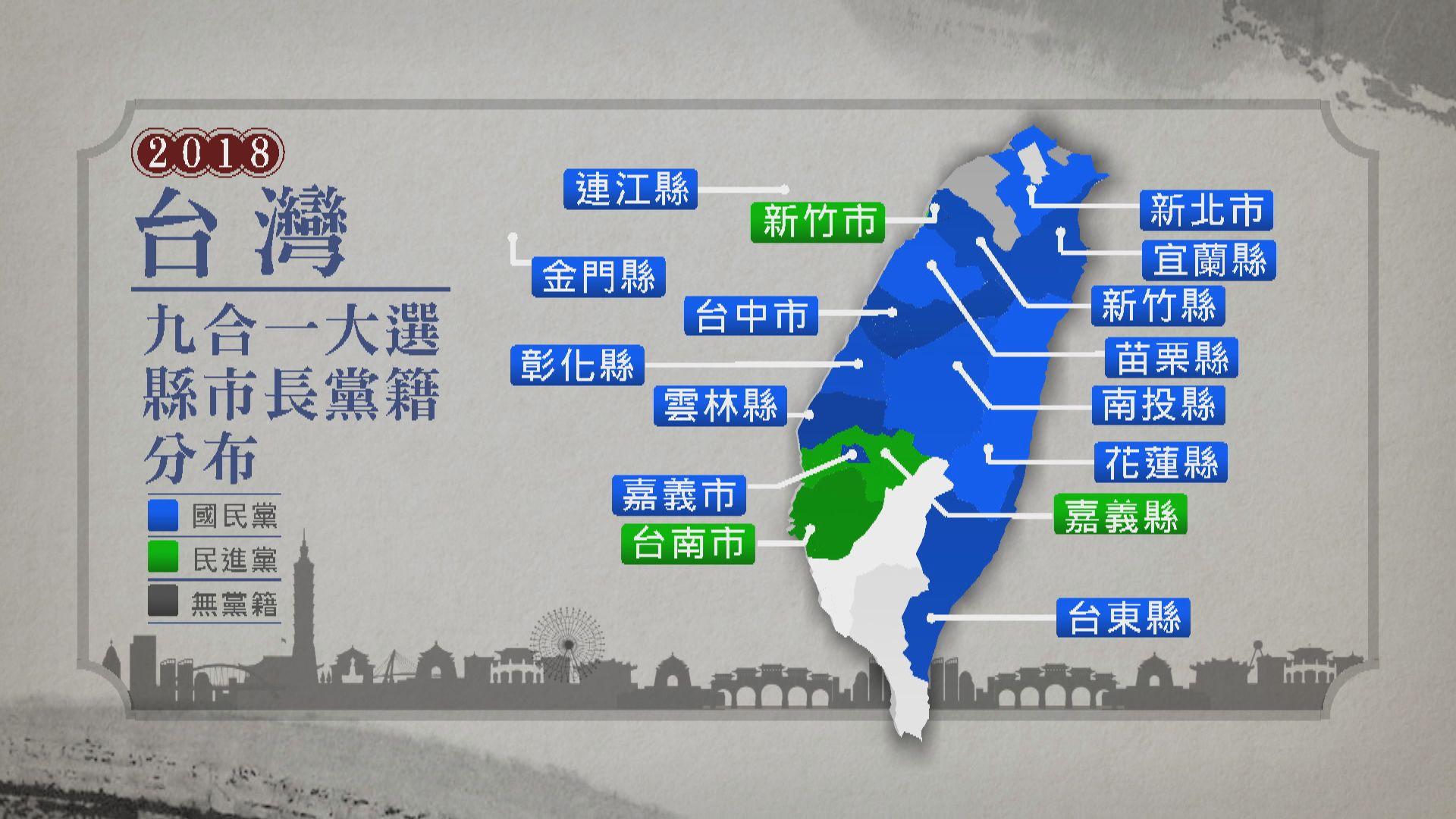 台灣九合一選舉 國民黨暫得13席民進黨暫得3席