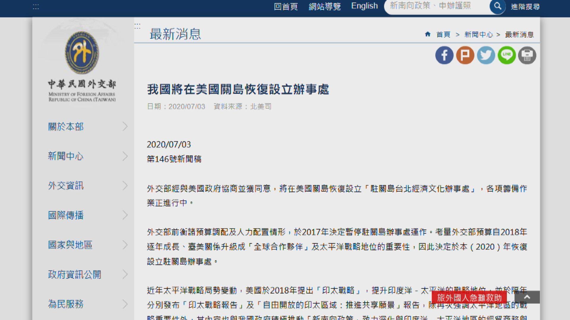 台灣復設駐關島經濟文化辦事處