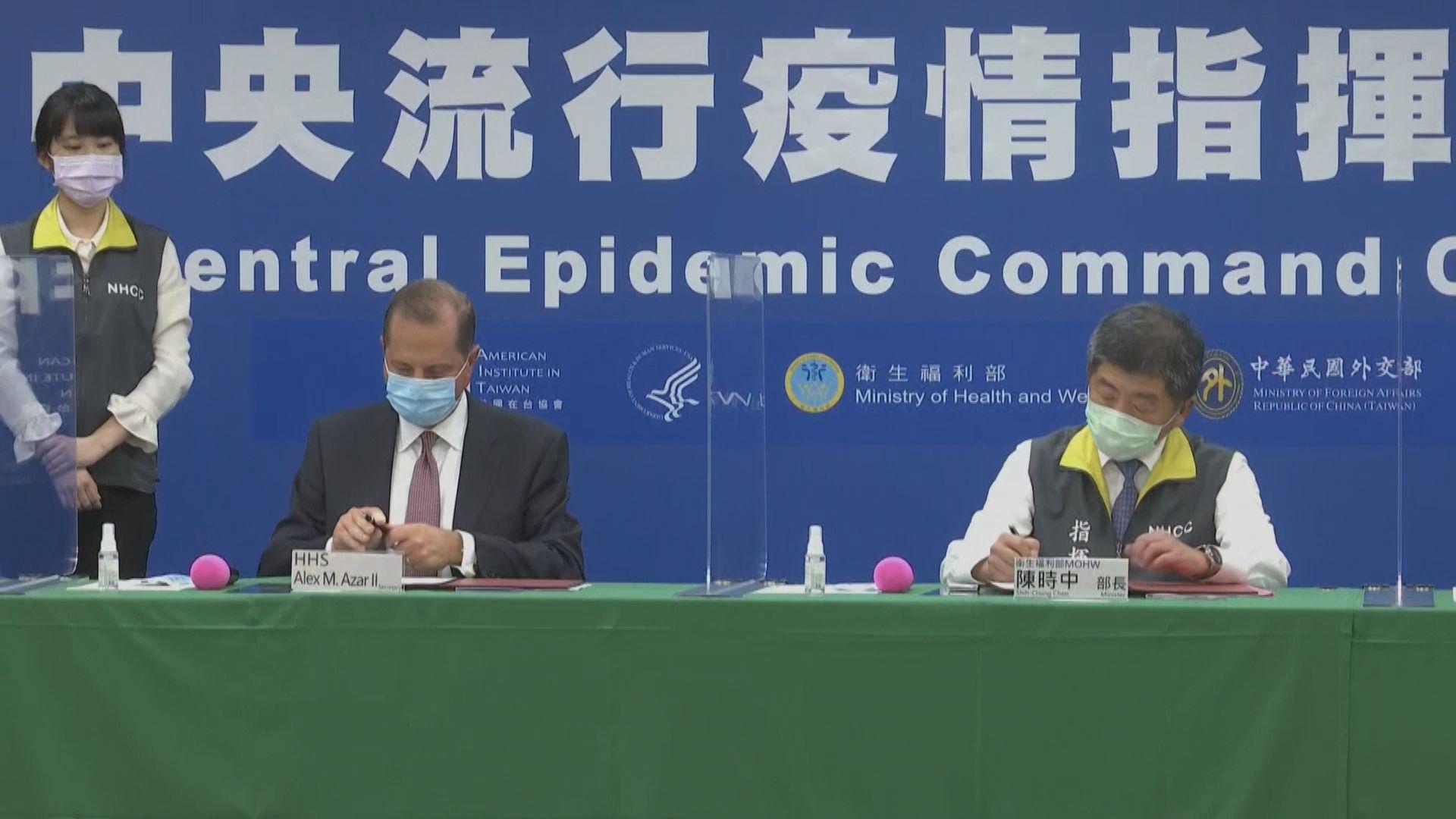 台美衞生部門簽合作備忘錄 北京堅決反對美台官方往來