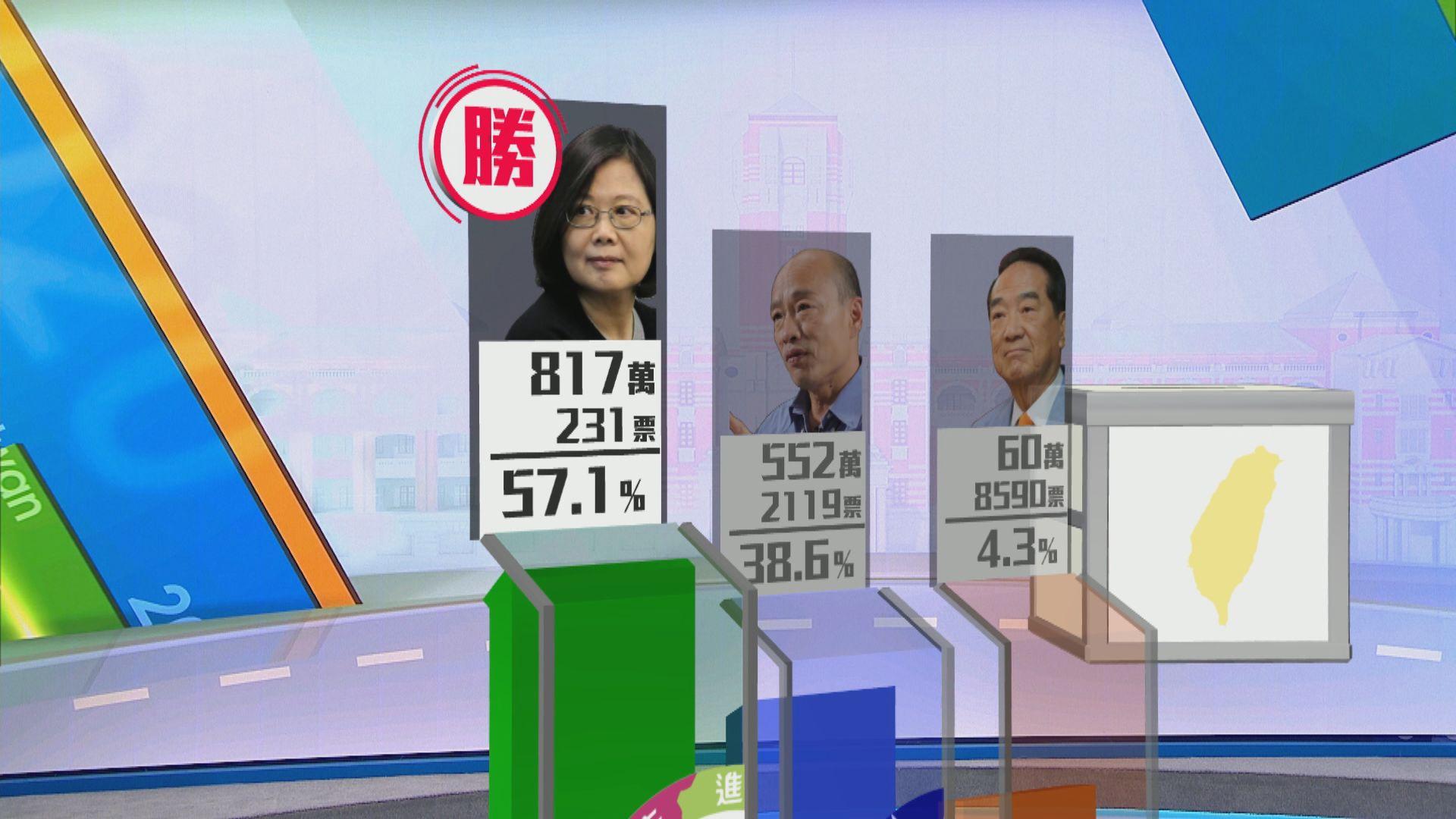 蔡英文成功連任 民進黨立委議席過半