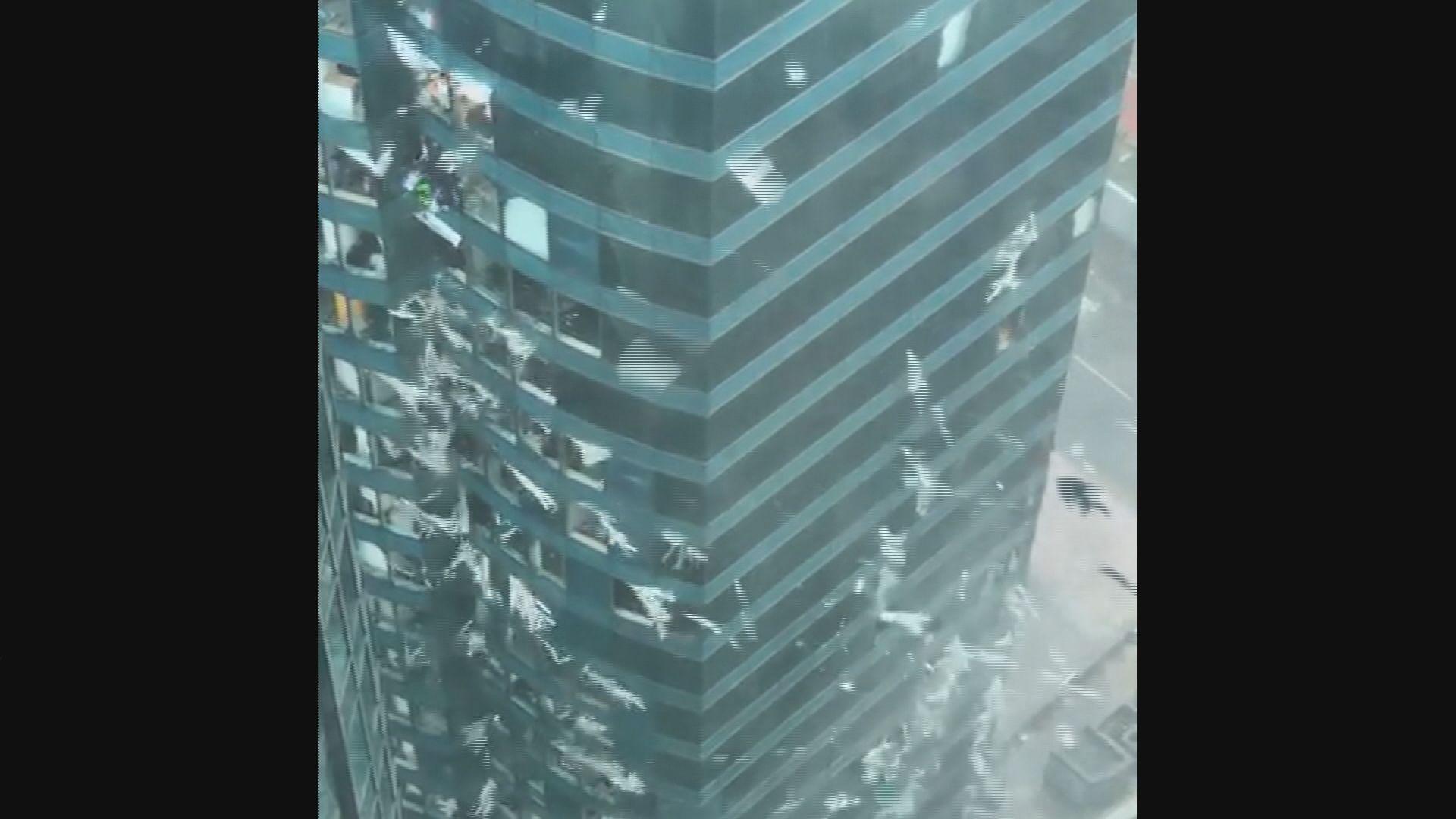 紅磡商廈幕牆多塊玻璃破裂