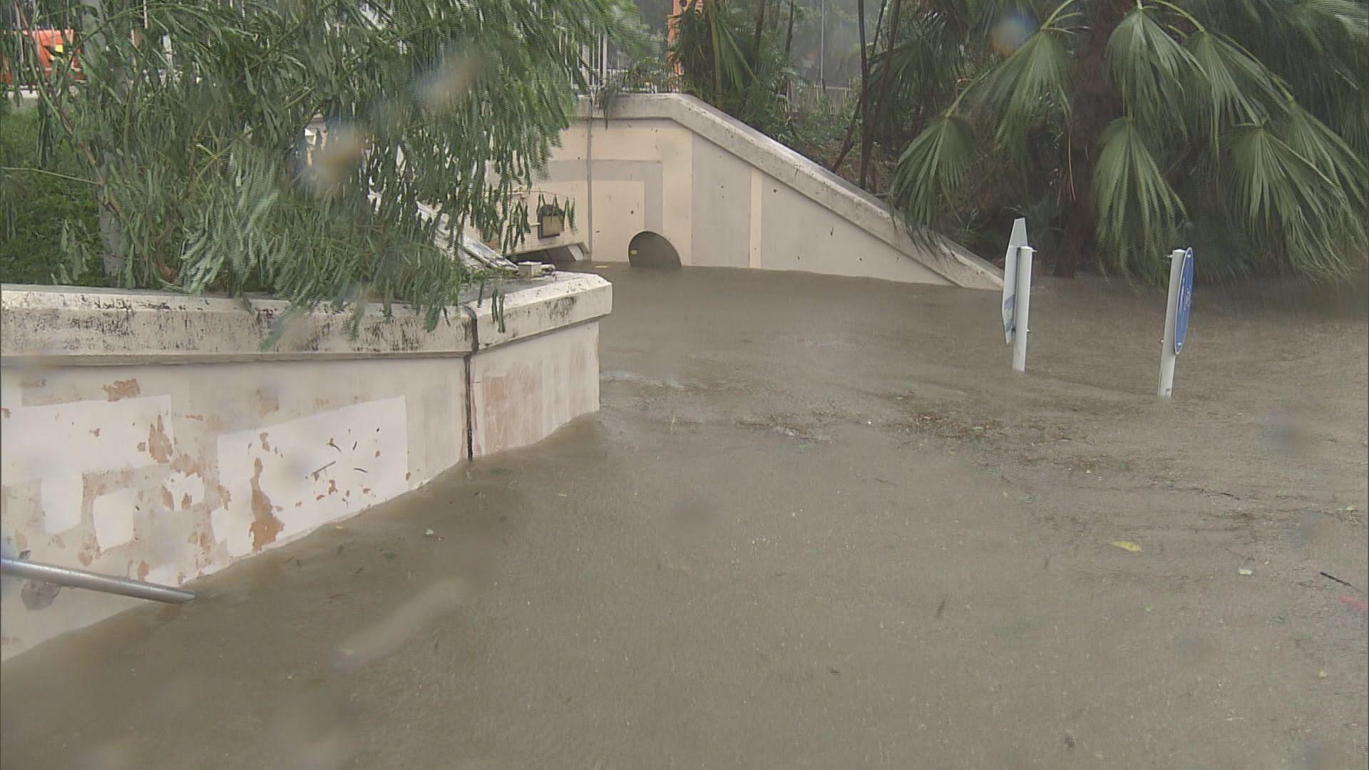 城門河泛濫單車徑被淹沒