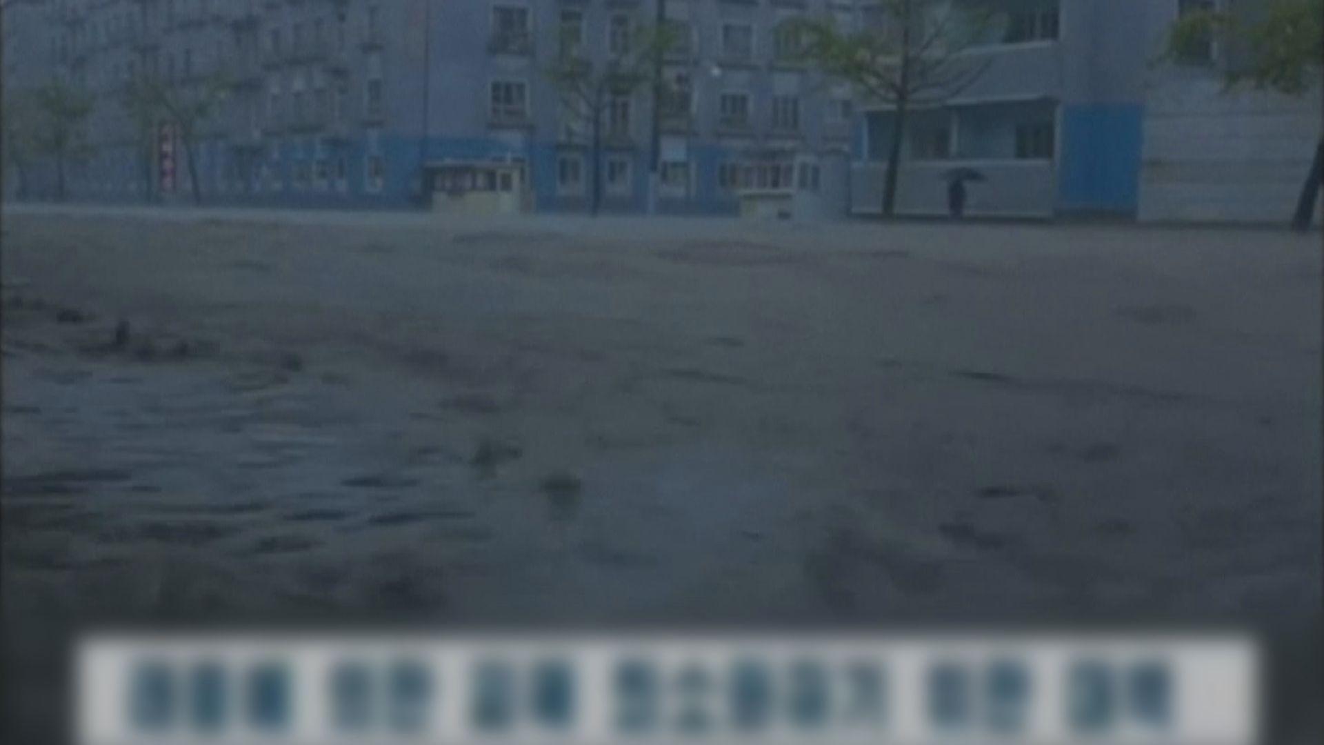 颱風美莎克吹襲北韓 造成嚴重水浸