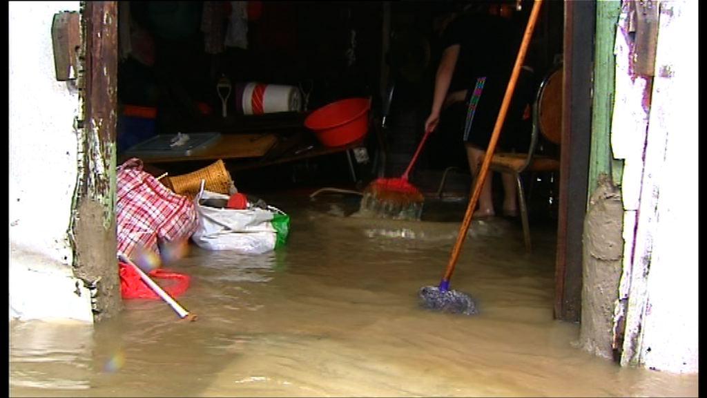 天鴿襲港 沙田流浮山大澳水浸嚴重