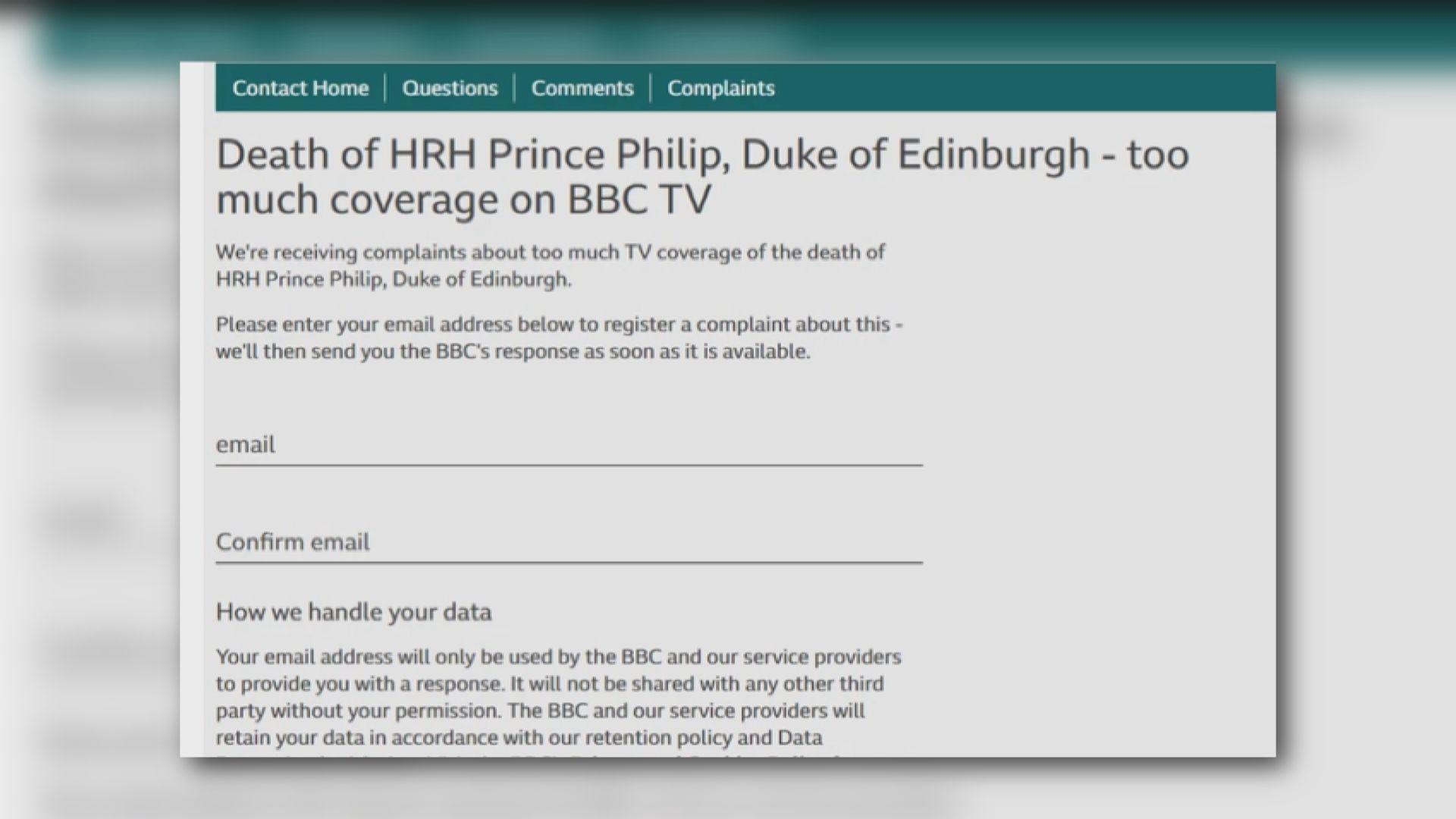 BBC抽起多個節目悼念菲臘親王 大量觀眾不滿投訴