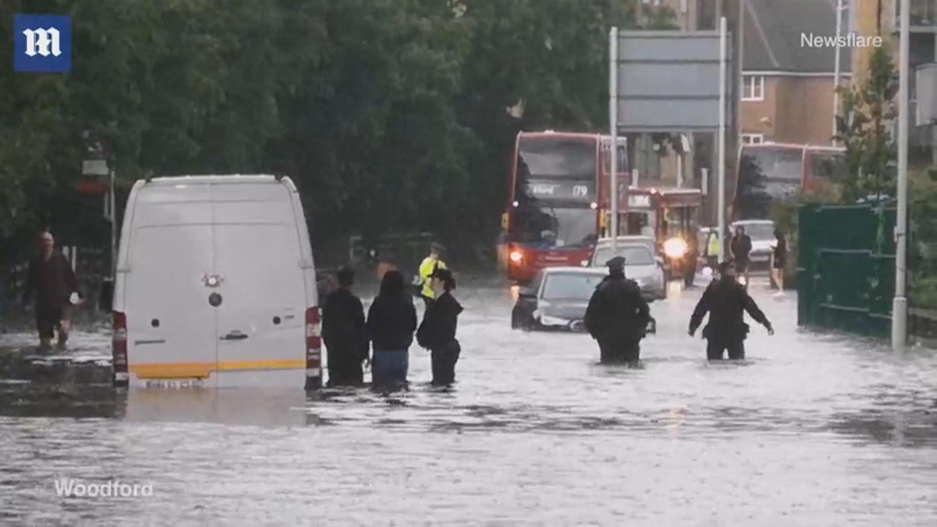 英國倫敦暴雨成災公共交通大受影響