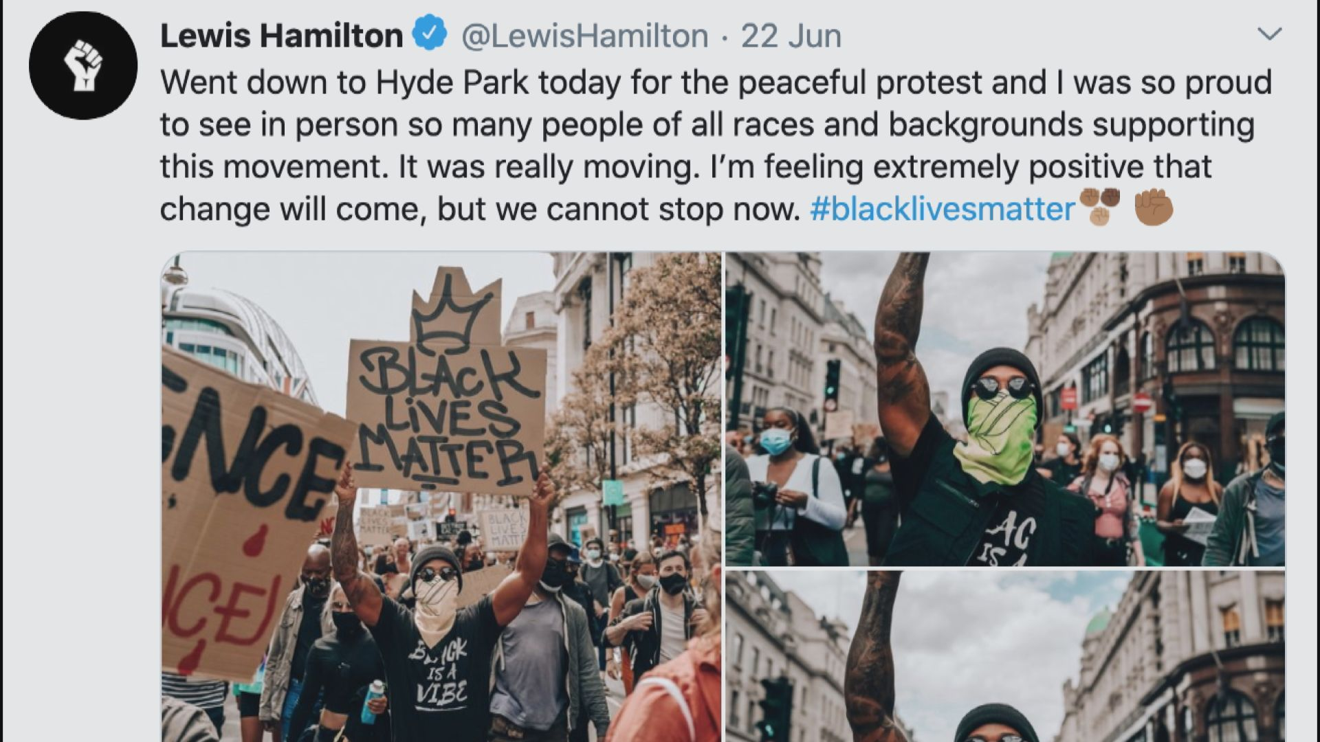 咸美頓參與反種族示威 促賽車界推動變革