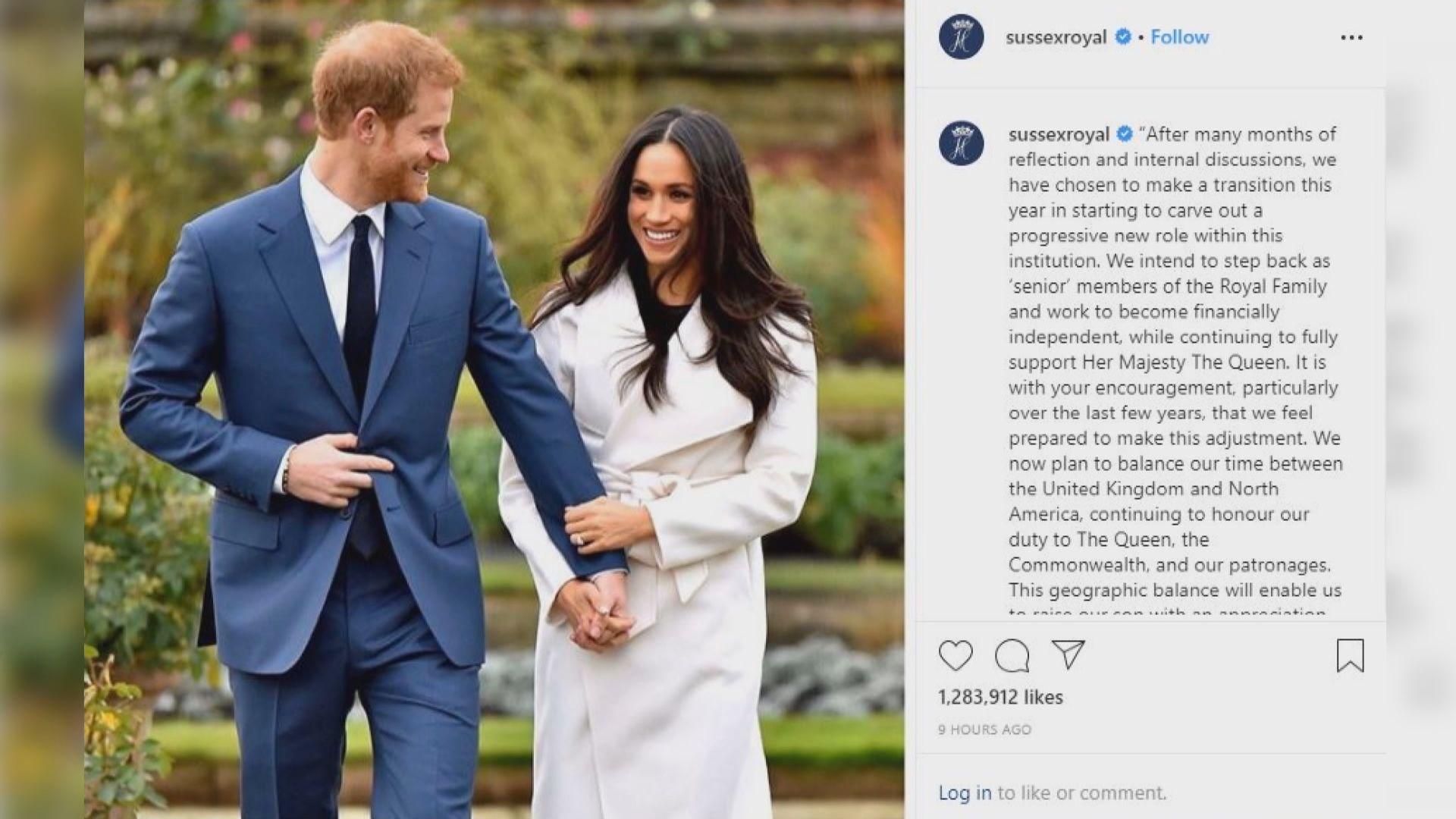 哈里夫婦擬從王室高層退下來 據報王室感失望