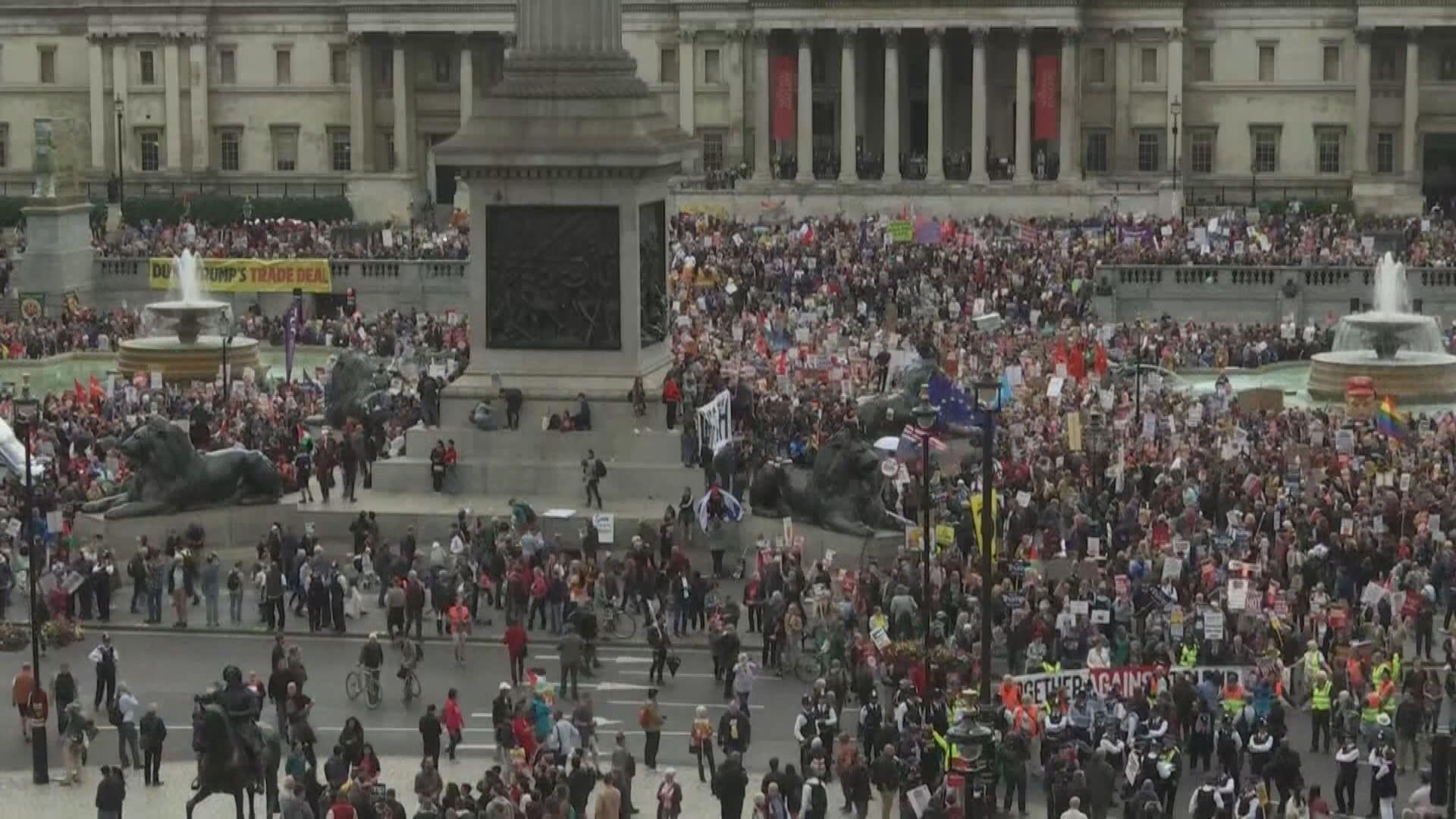 英國多個城巿有示威抗議特朗普到訪