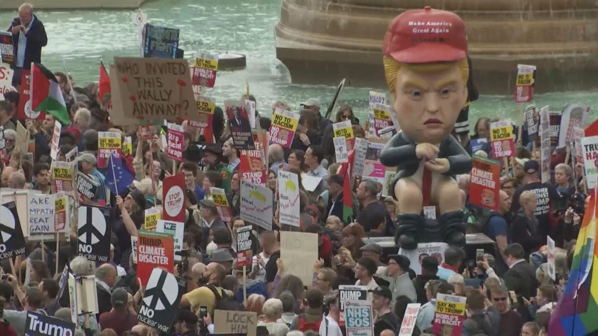 倫敦有大規模反特朗普示威 特朗普:假新聞