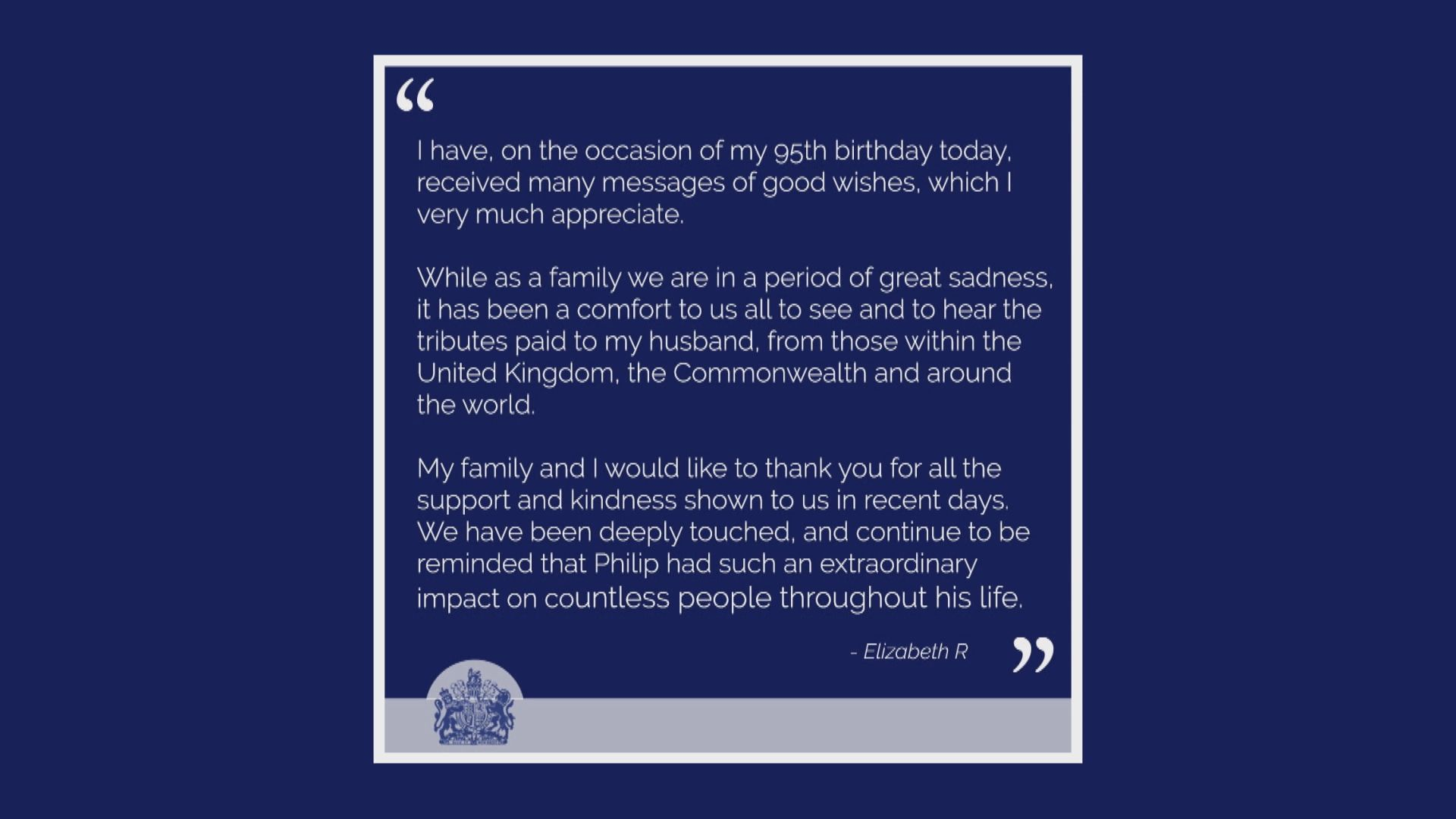 英女王感謝民眾向菲臘親王致敬