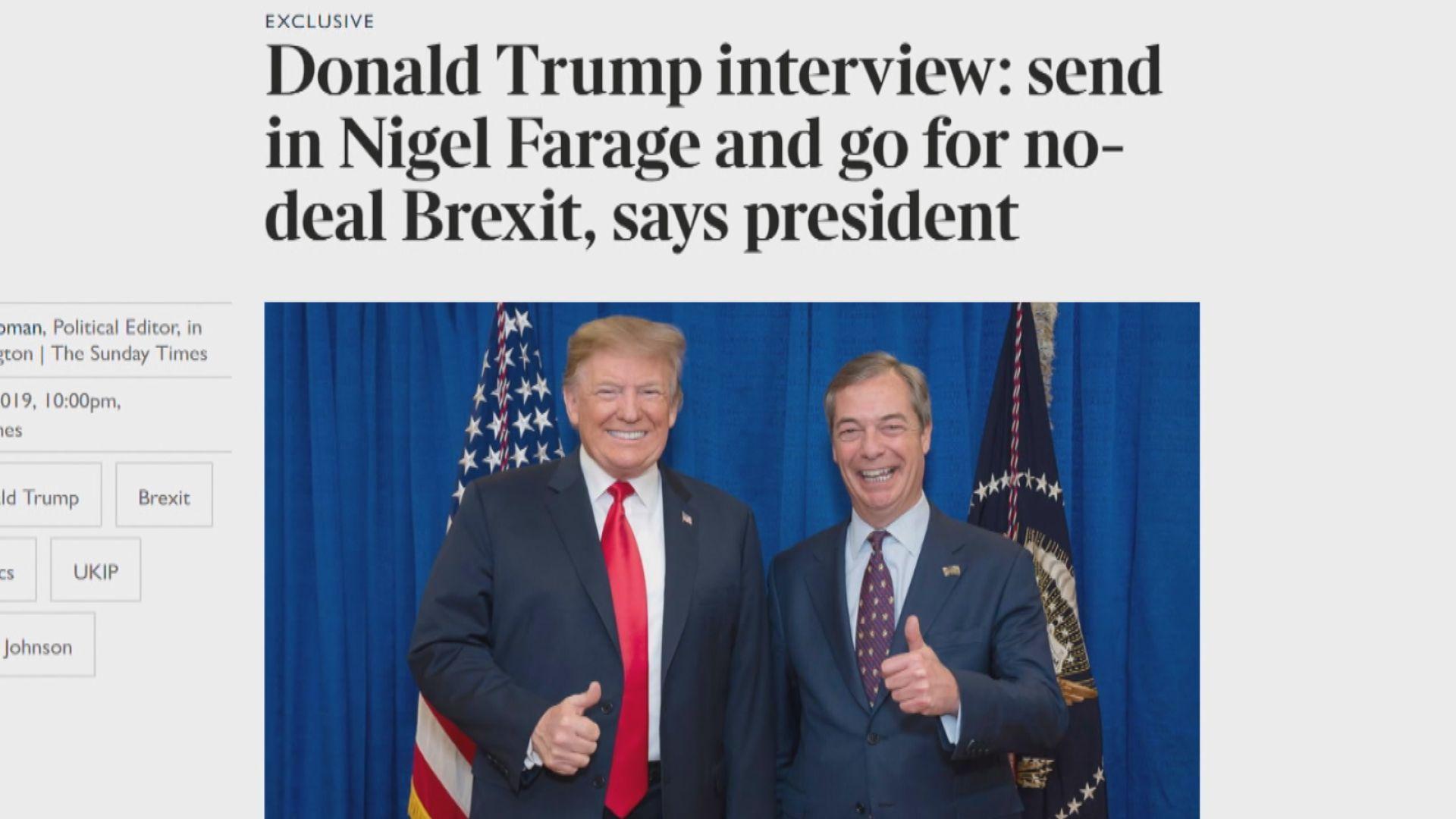 特朗普稱英國應無協議脫歐