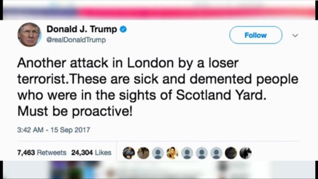 特朗普暗示英國警方錯過阻止恐襲機會