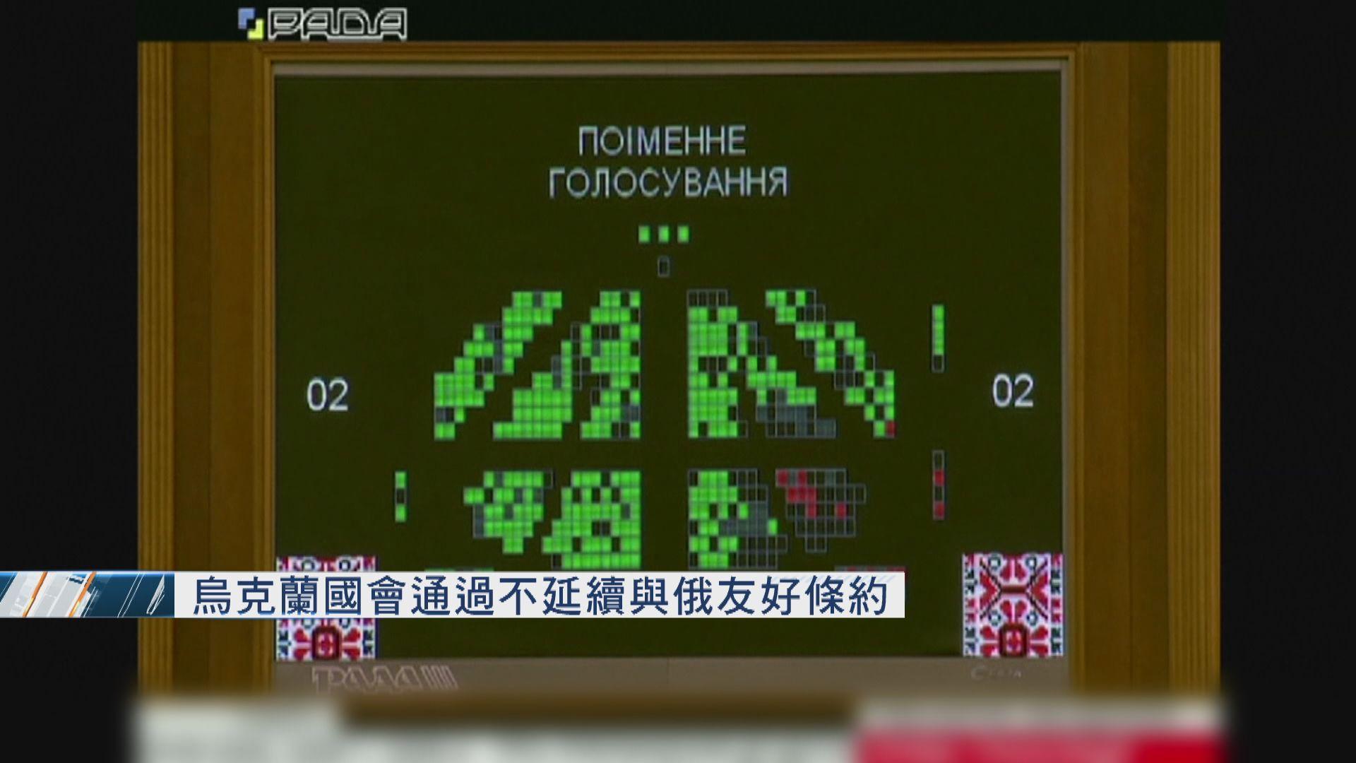 烏克蘭國會通過不延續與俄友好條約