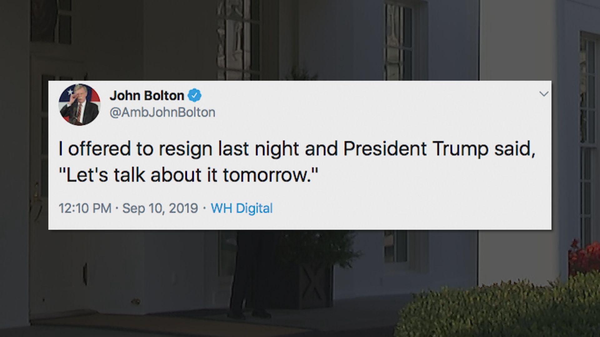 據報博爾頓特朗普曾就與塔利班領袖談判激辯