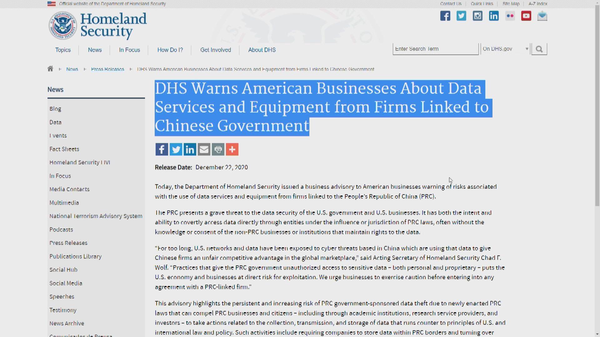 美國警告企業別使用中國相關數據服務