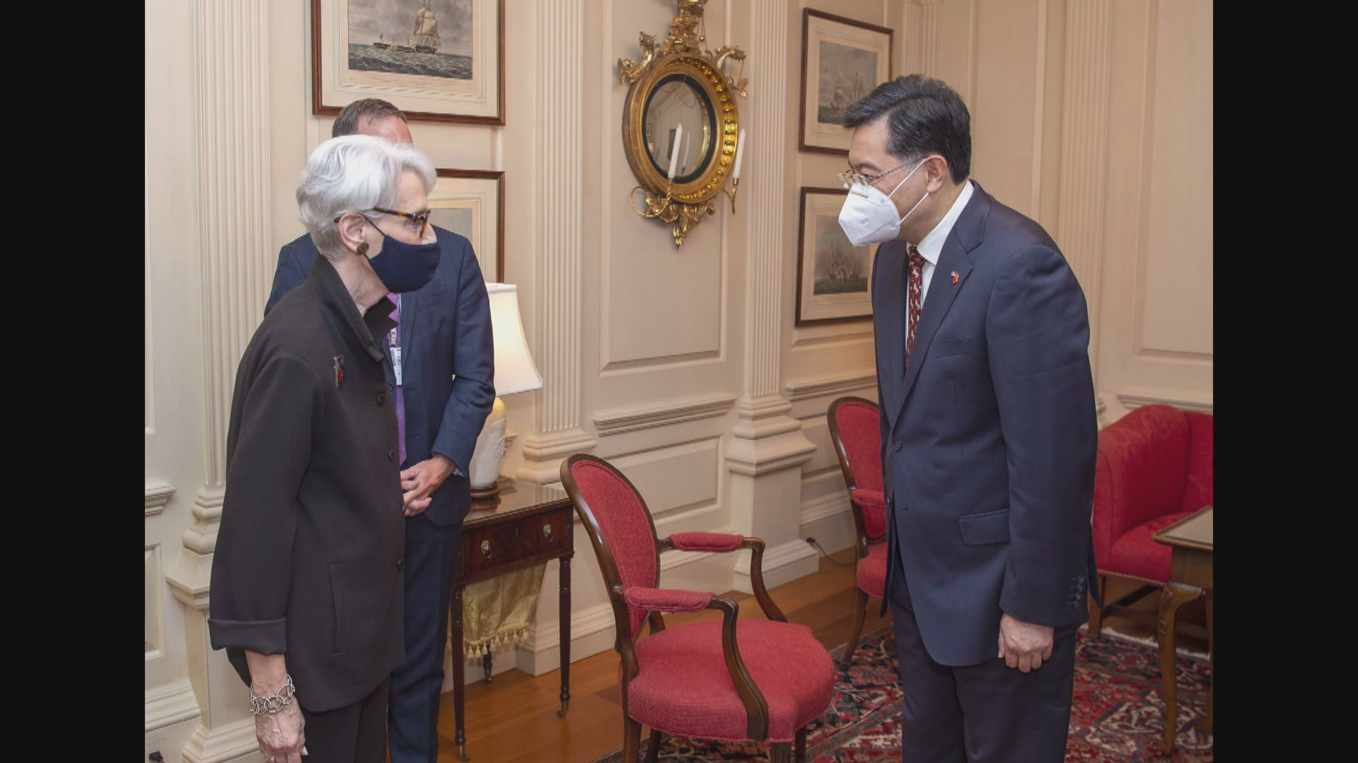 美國副國務卿舍曼與中國駐美大使秦剛會面