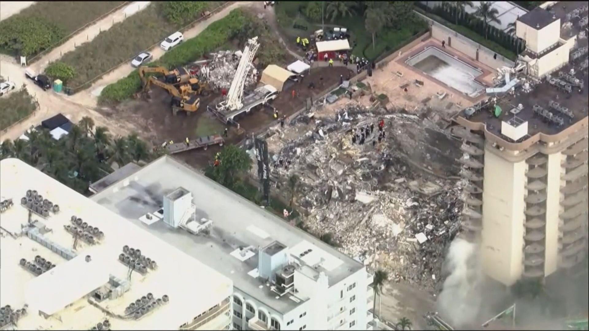 美國邁阿密住宅倒塌四死 救援人員續搜索逾百失蹤者