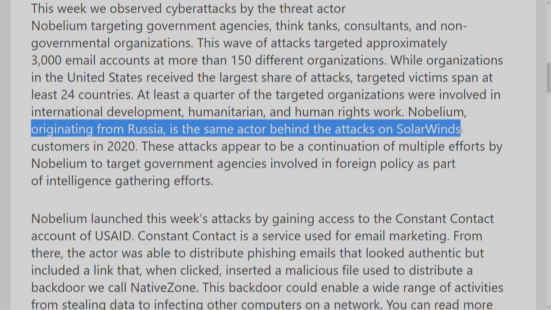 微軟指俄黑客持續攻擊政府部門