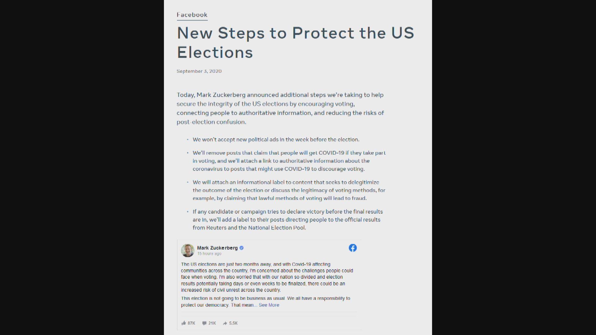Fb採措施防美國大選受干預 分析批屬公關技倆