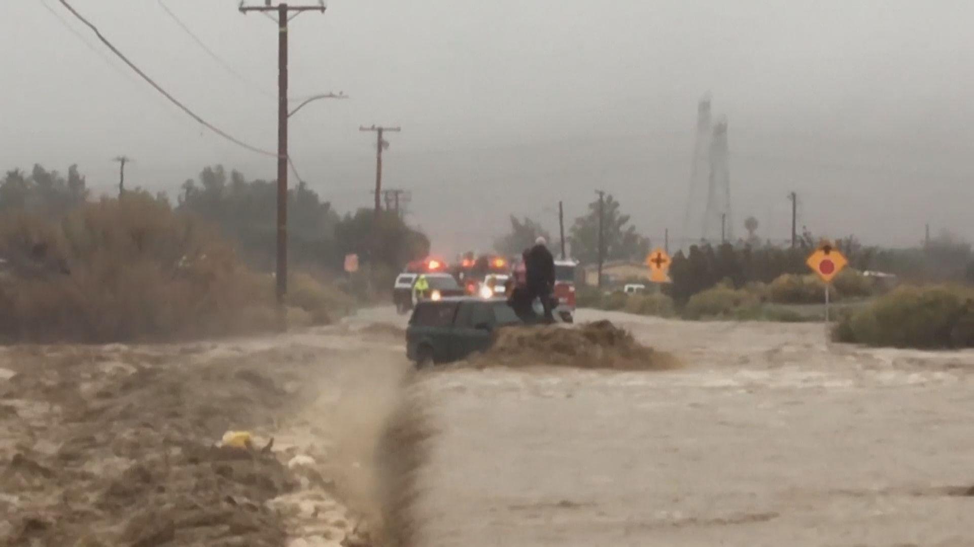 加州大雨引發泥石流有民眾被困