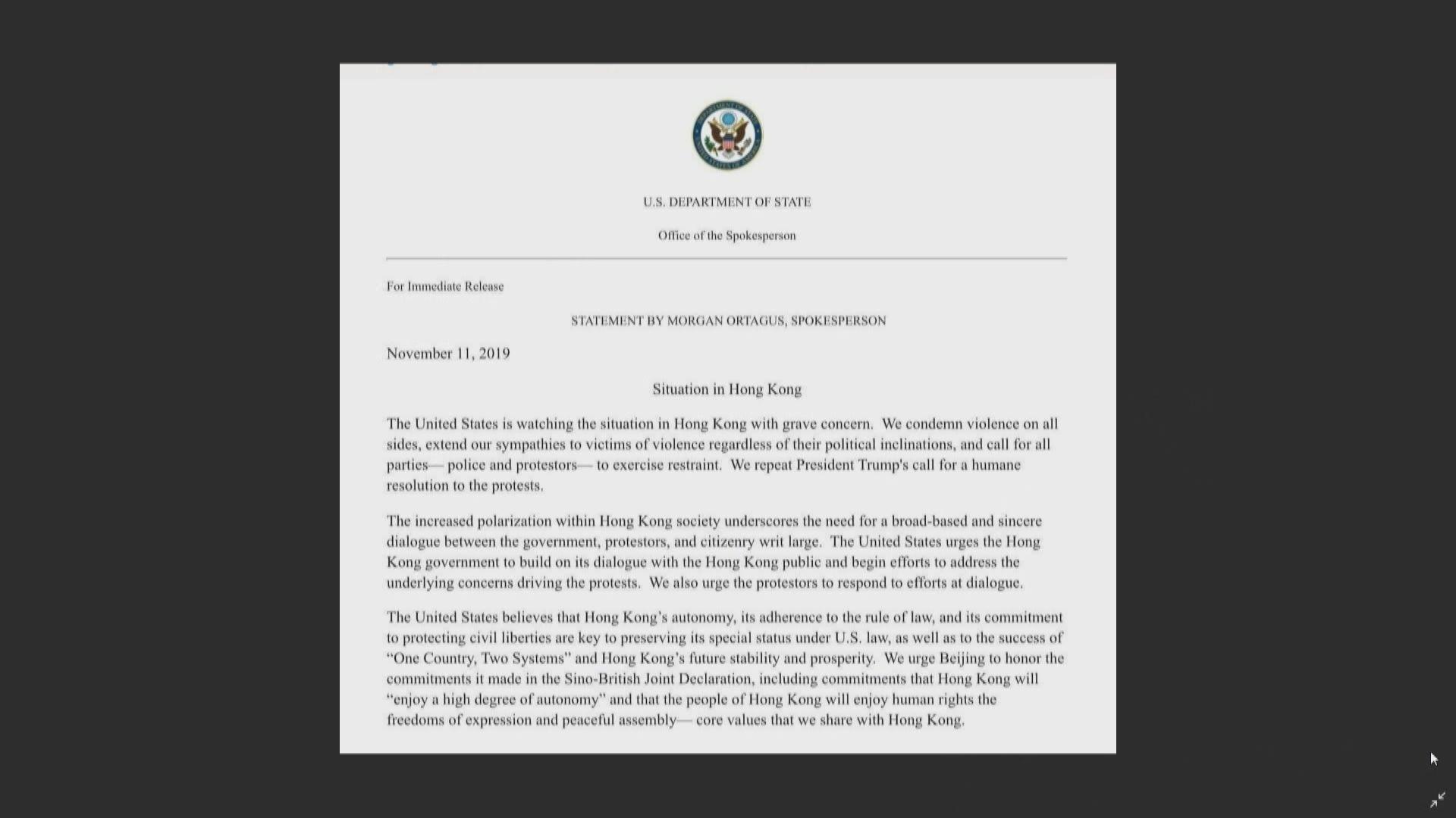 美國國務院譴責暴力 促警方示威者都要克制