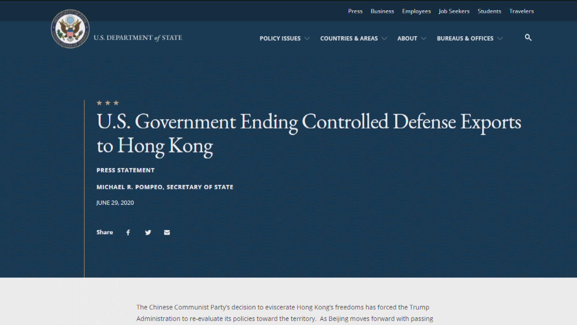美國停止對港出口國防設備