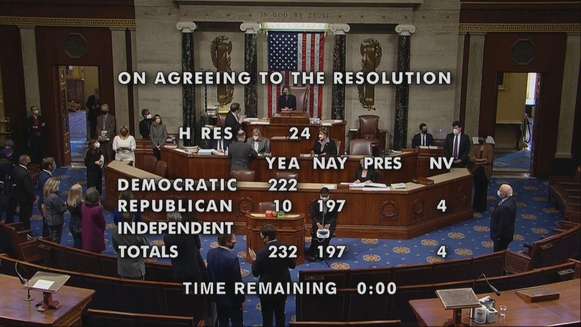 美國眾議院通過彈劾總統特朗普